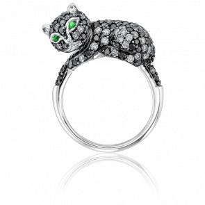 Anillo Oro Blanco 18K y Diamantes - Gato