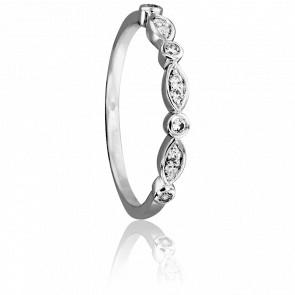 Alianza Siham Oro Blanco 18K & Diamantes