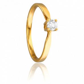 Alianza compromiso Oro Amarillo y Diamante 0,18ct.