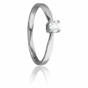 Anillo de Compromiso de Oro Blanco y Diamante de peso 0,18 ct