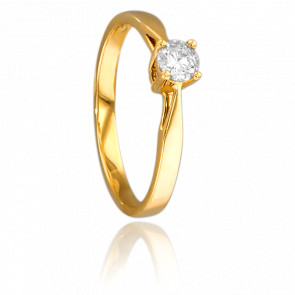 Anillo de compromiso Oro Amarillo y Diamante peso 0,23ct.