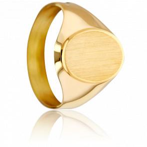 Anillo Sello Oval & Abocetado Oro Amarillo 18K