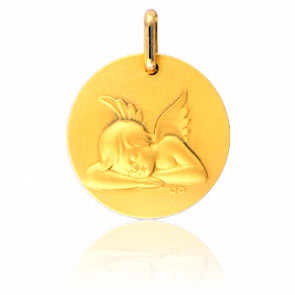 Medalla Ángel descansando Oro Blanco