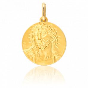 Medella Cristo Corona de Espinas Oro Amarillo 18K