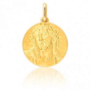 Medalla Cristo con Corona Espinas Oro Amarillo 9K