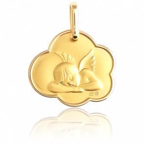 Medalla Ángel Adormecido Nube Bordes Redondeados Oro Amarillo 18K