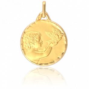 Medalla Ángel con Paloma Oro Amarillo 18K