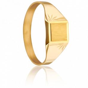 Anillo Sello Cuadrado Oro Amarillo 18 quilates