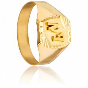 Anillo Sello Tonel Estrella & Letras Oro Amarillo 18 quilates
