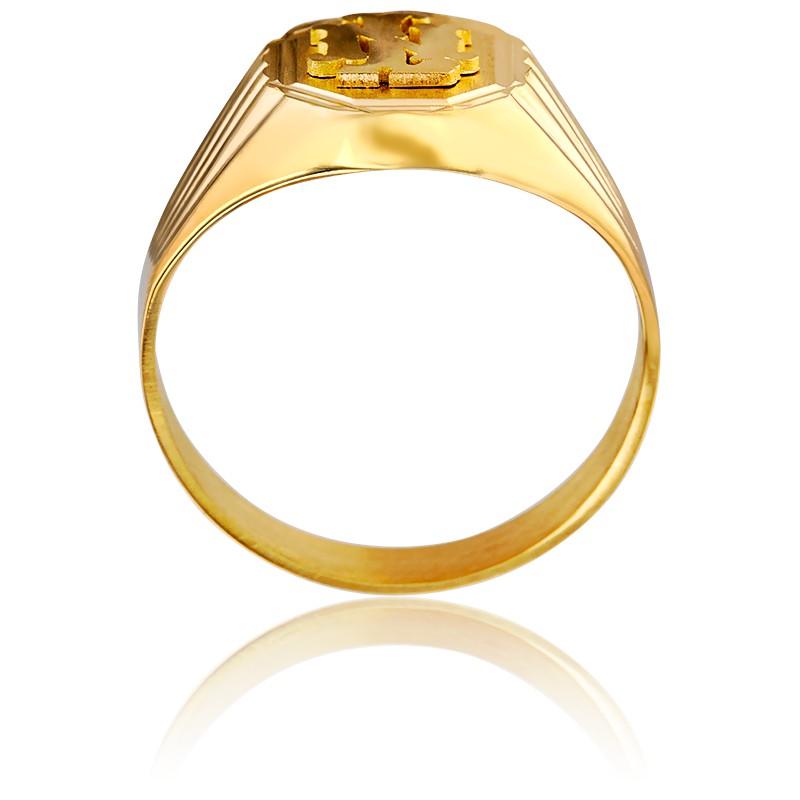 d240733b3b44 Anillo Sello Octogonal   Letras Oro Amarillo - lucas Lucor - Ocarat