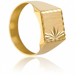 Anillo Sello Cuadrado Tallado Oro Amarillo 18K