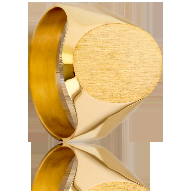 6746cce53fbb Anillo de Sello Macizo Ovalado Oro Amarillo 18K