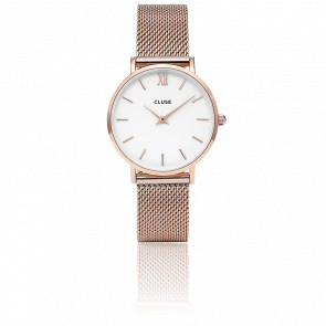 Reloj Minuit Mesh Rose Gold White CL30013