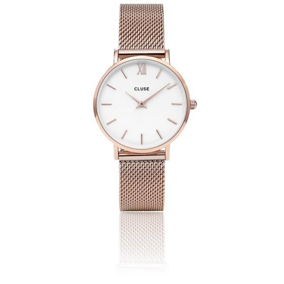 Reloj Minuit Mesh Rose Gold White CL30013