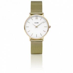 Reloj Minuit Mesh Gold White CL30010