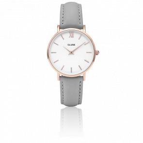 Reloj Minuit Rose Gold White Grey CL30002