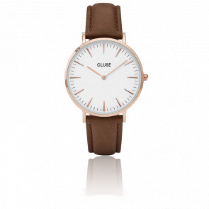 Reloj La Bohème Rose Gold White/Brown CL18010