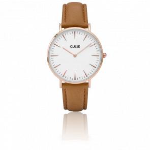 Reloj La Bohème Rose Gold White/Caramel CL18011