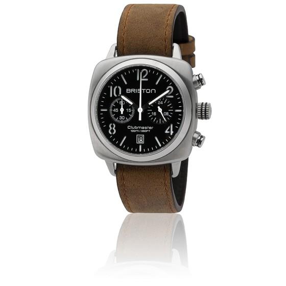 Reloj Clubmaster Chrono Date Classic Acero - Correa Marrón Esfera Negra