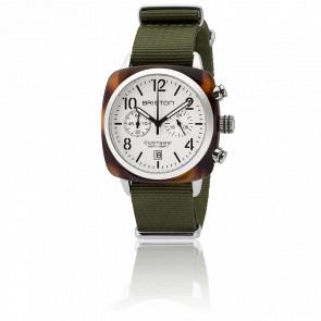 Reloj Clubmaster Chrono Date Acetato - Esfera blanca Correa nato verde
