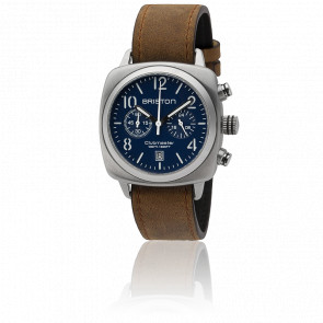 Reloj Clubmaster Chrono Date Classic Acero - Correa Marrón Esfera Azul