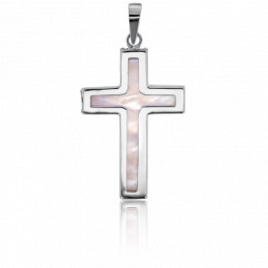 Cruz de Nácar 27 x 17,3  mm Oro Blanco 9K