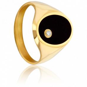Anillo Sello Oro Amarillo 9K Ónice y Diamante 0,02 ct