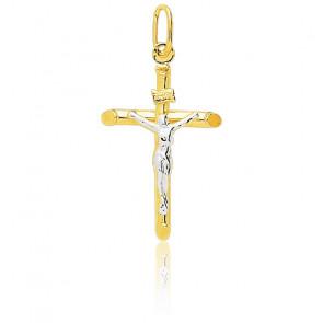 Medalla Cruz con Cristo Bicolor, 16x30mm,Emanessence