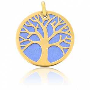 Colgante Árbol de la Vida Oro Amarillo 18K & Acero Azul