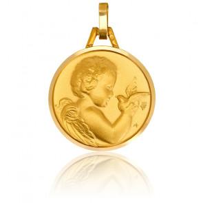 Medalla Oro Amarillo 9k Ángel con Paloma