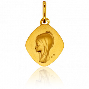 Medalla Rombo Virgen con Aureola de Oro Amarillo 18 quilates