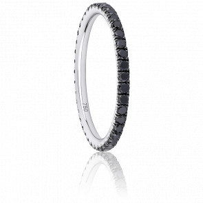 Anillo Eternity Oro Blanco & Diamantes Negros