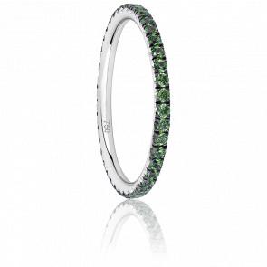 Anillo Eternity Oro Blanco & Granates Verdes