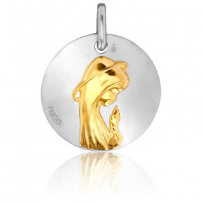 Medalla Virgen de perfil Oro Amarillo & Blanco 18K