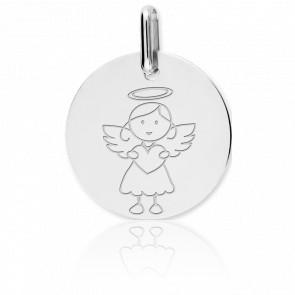 Medalla Ángel Niña Oro Blanco