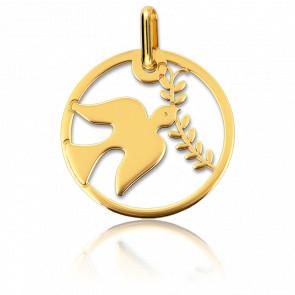 Medalla Paloma con Rama Calada Oro Amarillo