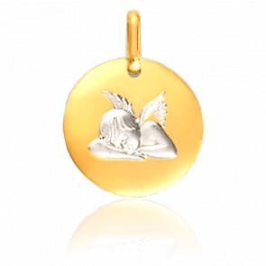 Medalla Ángel Adormecido Oro Blanco & Oro Amarillo