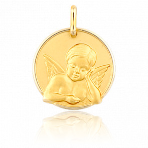 Medalla Ángel Pensativo de Cara Oro Amarillo