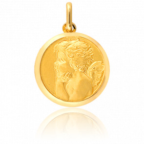 Medalla Ángel Pensativo de Perfil Oro Amarillo