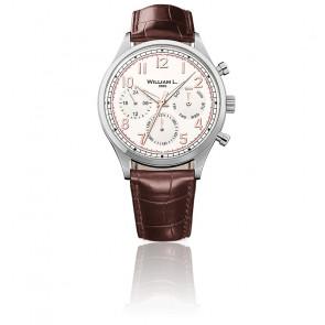 Reloj Calendar cream dial brown leather