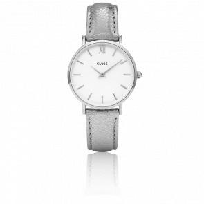 Reloj Minuit Silver White Silver Metallic CL30039