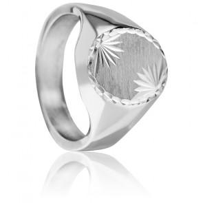 Anillo de sello plata maciza 2 Flores