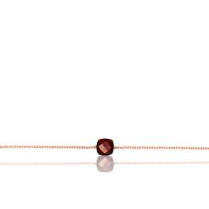 Pulsera cadena Granate chapado Oro rosa
