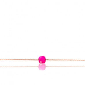 Pulsera cadena Ágata rosa chapado Oro Rosa