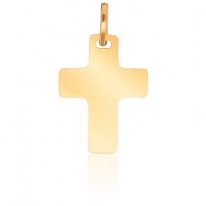 Cruz lisa simple 17 x 21 mm, oro amarillo 18 quilates