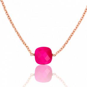 Collar Briolette Agata fucsia chapado Oro rosa