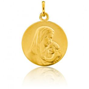 Medalla Redonda Virgen con Niño Oro Amarillo 18K