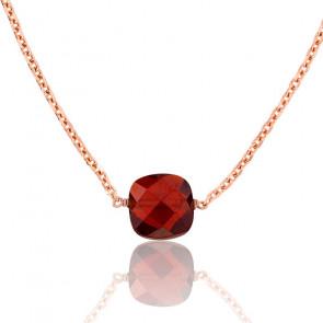 Collar Briolette Granate chapado Oro Rosa