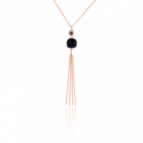 Collar largo Luxe Ónix chapado Oro Rosa
