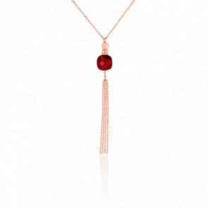Collar largo Luxe Granate chapado Oro Rosa